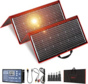 DOKIO 300w Portable Solar Panel Kit (41x21inch) Folding Flexible Monocrystalline(HIGH Efficiency) Include Charge Controller and Cable for 12v Battery Charging Car Battery AGM RV Camper Van