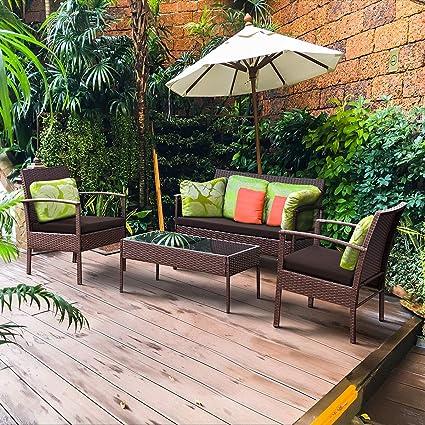 Pleasant Amazon Com 4 Pcs Patio Rattan Wicker Furniture Set Andrewgaddart Wooden Chair Designs For Living Room Andrewgaddartcom