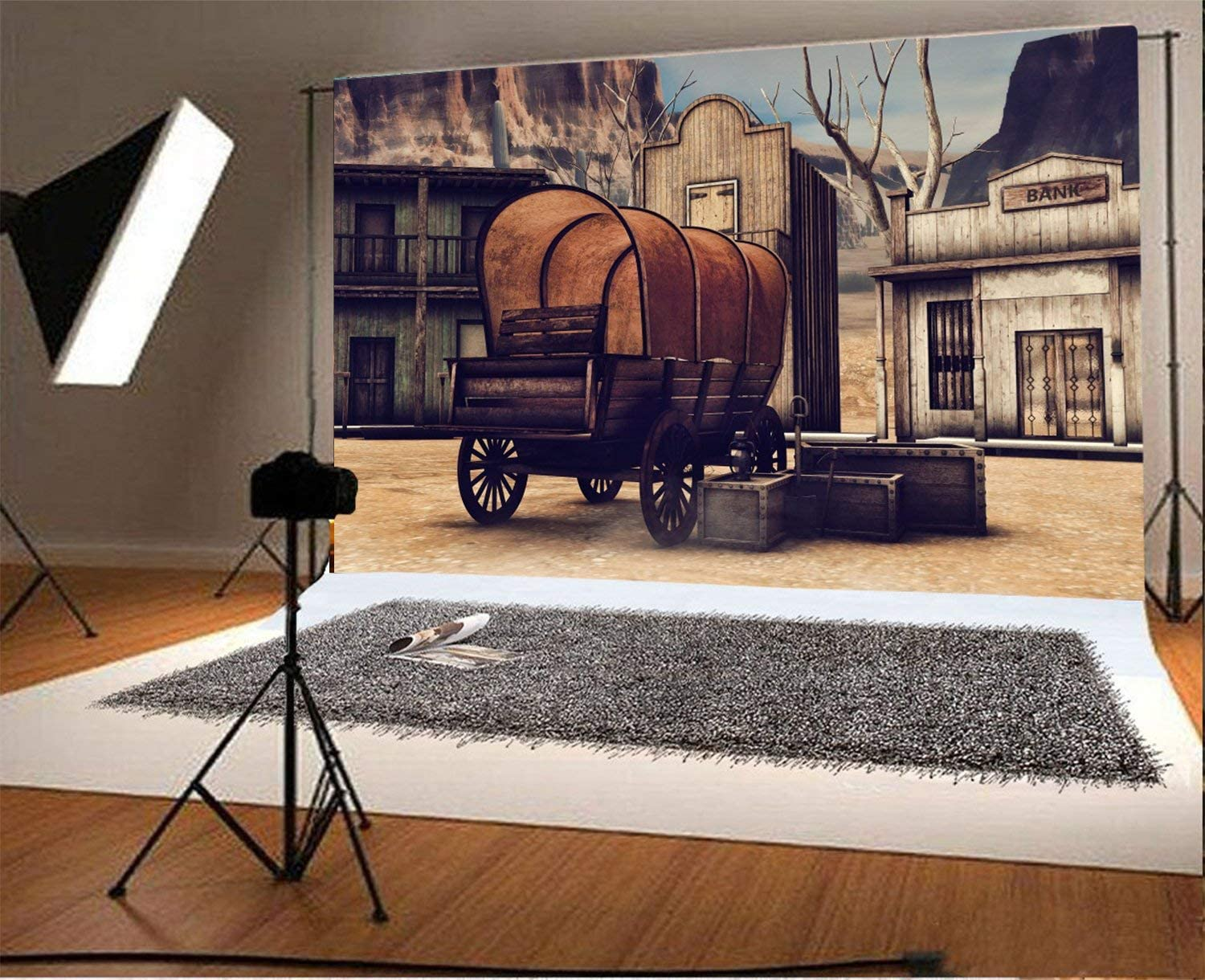 CdHBH 7x5FT Vinyl Backdrop Photography Background Wooden Town Ancient Old Wagon Wild West Scene Banic House Wood Grunge Background Children Baby Personal Portrait Back Drop Photo Portrait