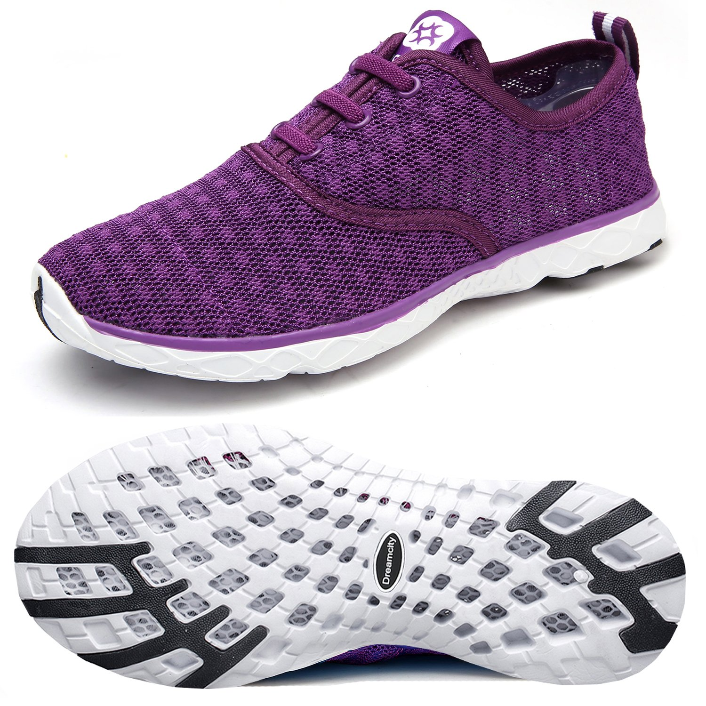 Dreamcity Women's Water Shoes Athletic Sport Lightweight Walking Shoes B01KYWKV6G 8.5 B(M) US,Purple