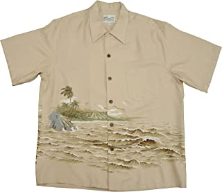 product image for Kaimana Surf Men's Kamehameha Style Rayon Vintage Shirt in Tan - S