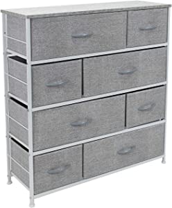 Sorbus Dresser with 8 Drawers - Furniture Storage Chest Tower Unit for Bedroom, Hallway, Closet, Office Organization - Steel Frame, Wood Top, Easy Pull Fabric Bins (Gray)