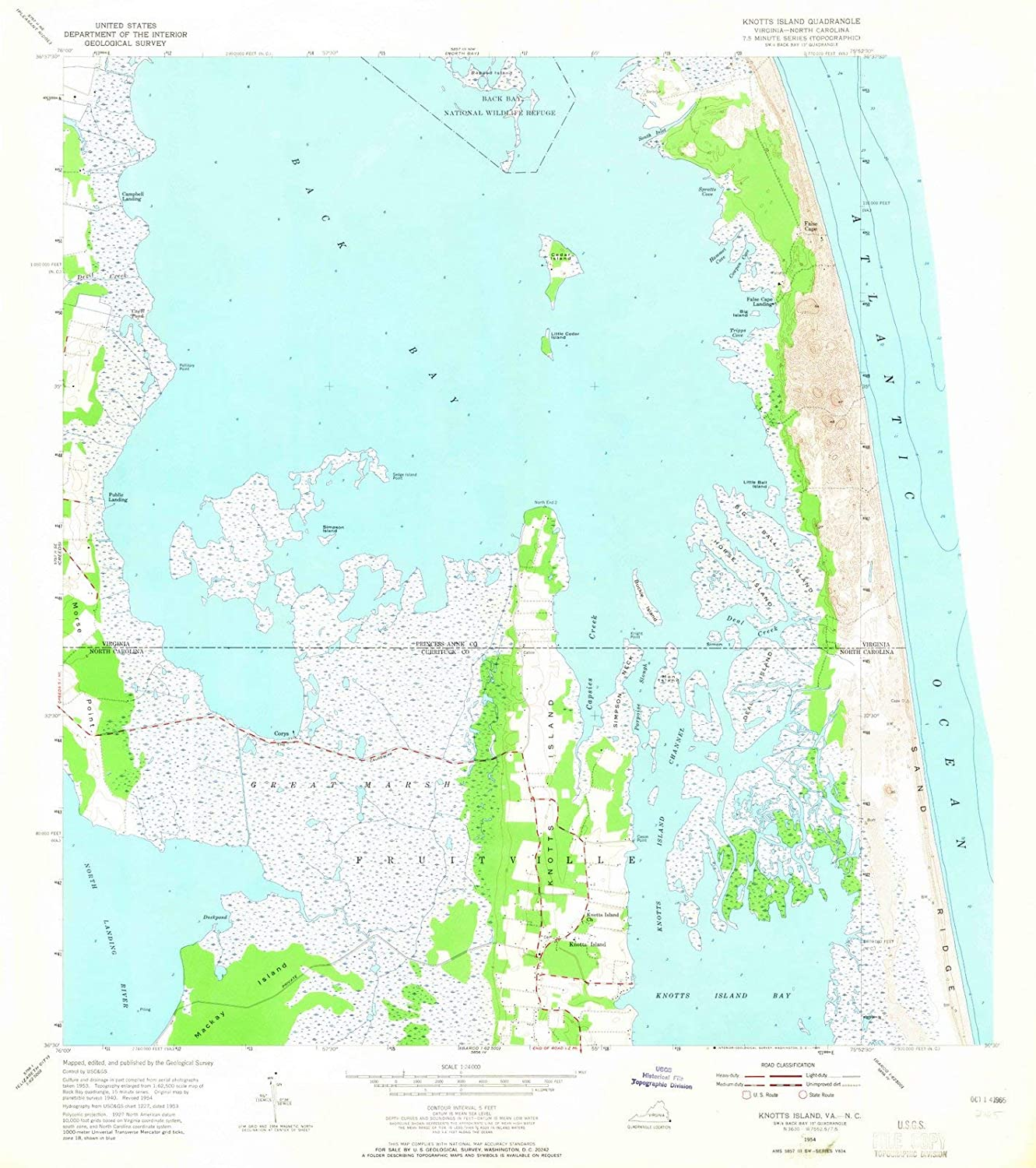 Amazon.com: Historic Map | Knotts Island, North Carolina (NC ...