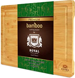 "Extra Large Organic Bamboo Cutting Board with Juice Groove - Kitchen Chopping Board for Meat (Butcher Block) Cheese and Vegetables (XL 18 x 12"")"
