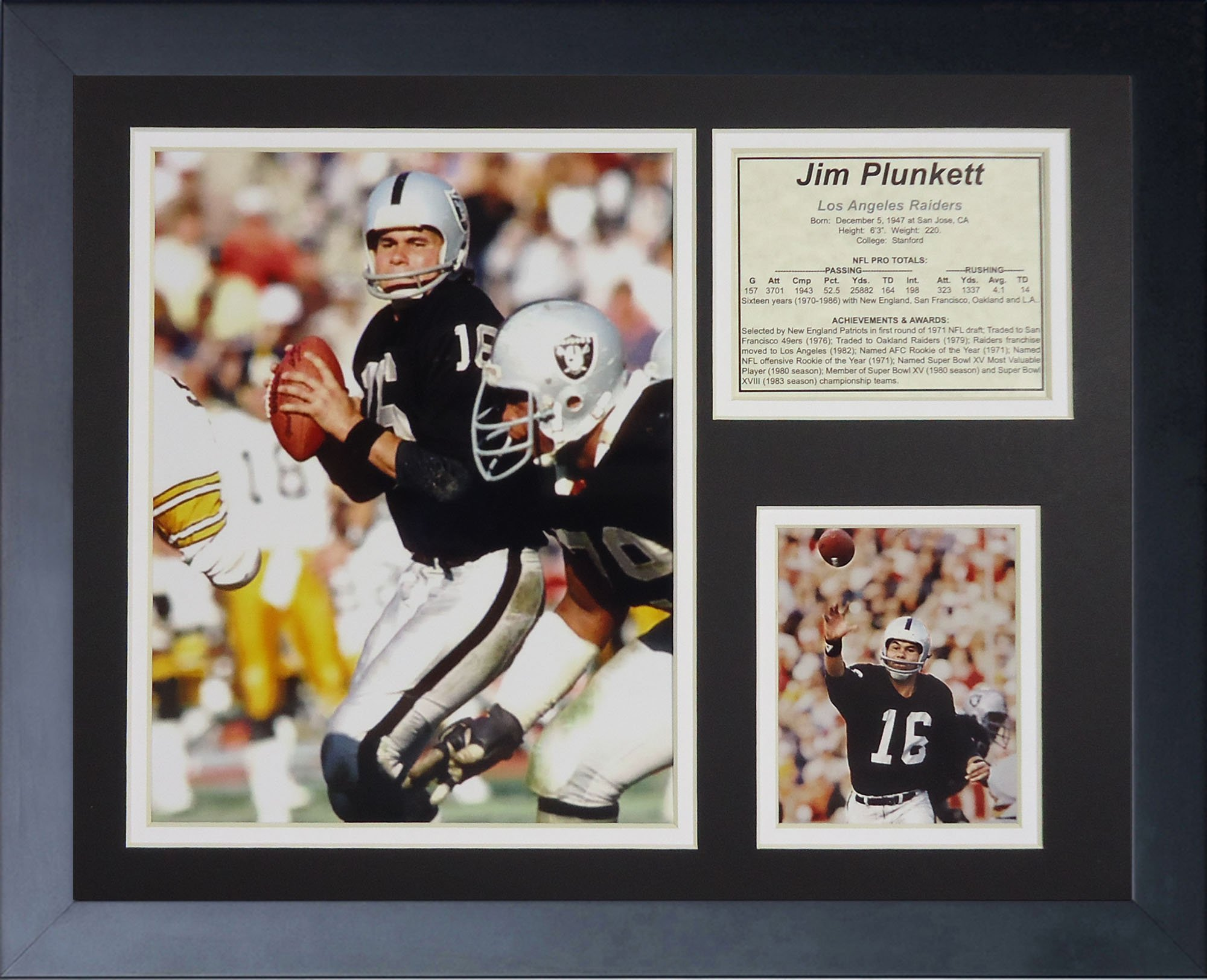Jim Plunkett 11'' x 14'' Framed Photo Collage by Legends Never Die, Inc. - Home by Legends Never Die