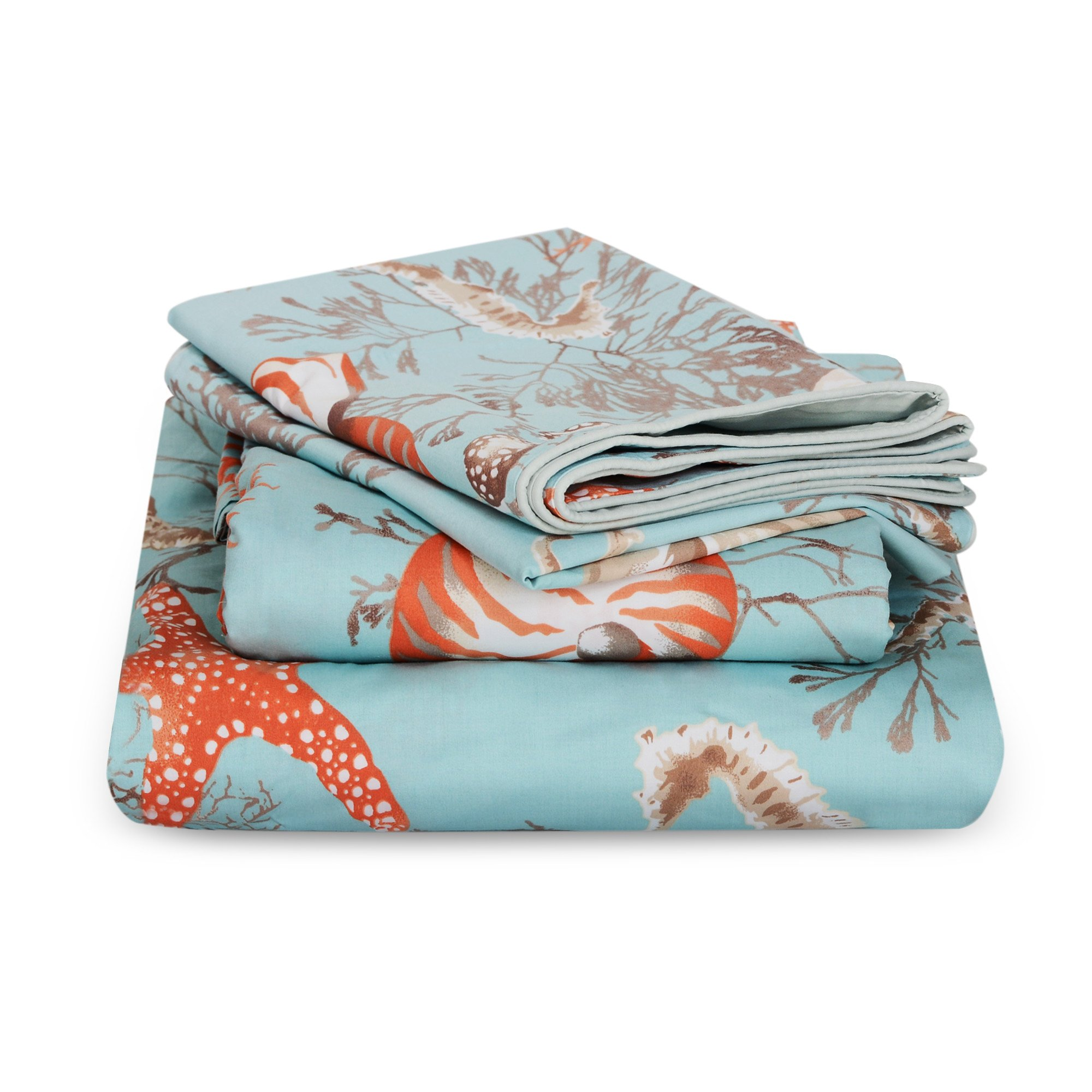 Brandream King Size Luxury Nautical Bedding Coastal Beach Themed Sheets Set 100% Cotton Bed Sheet Set Deep Pocket 4Pcs Fitted Sheet Flat Sheet Pillowcases Set 800TC