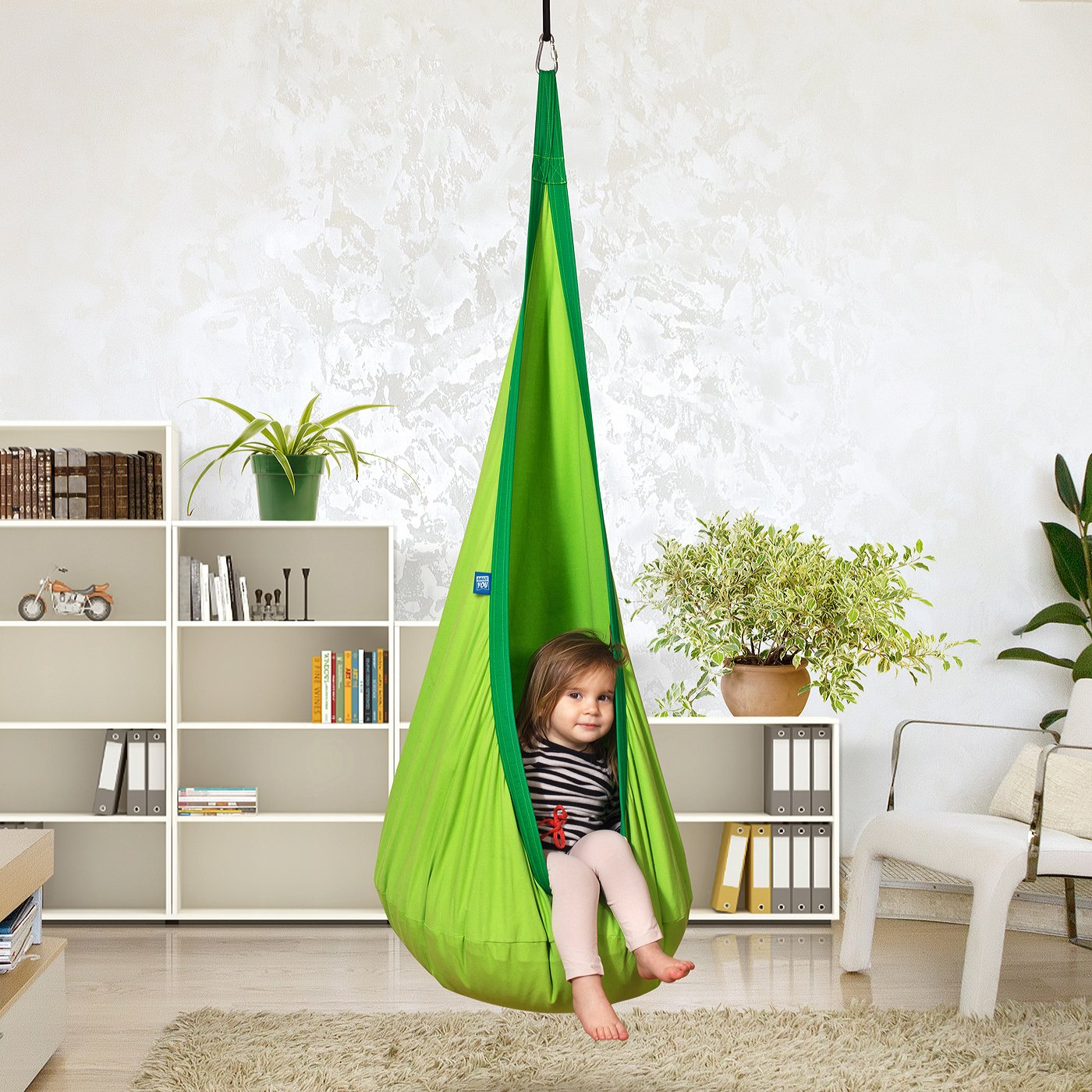Childs Rope Hanging Sensory Seat Nest for Indoor and Outdoor Use with Inflatable Pillow AMAZEYOU Kids Swing Hammock Pod Chair Great for Children All Accessories Included Nook Green