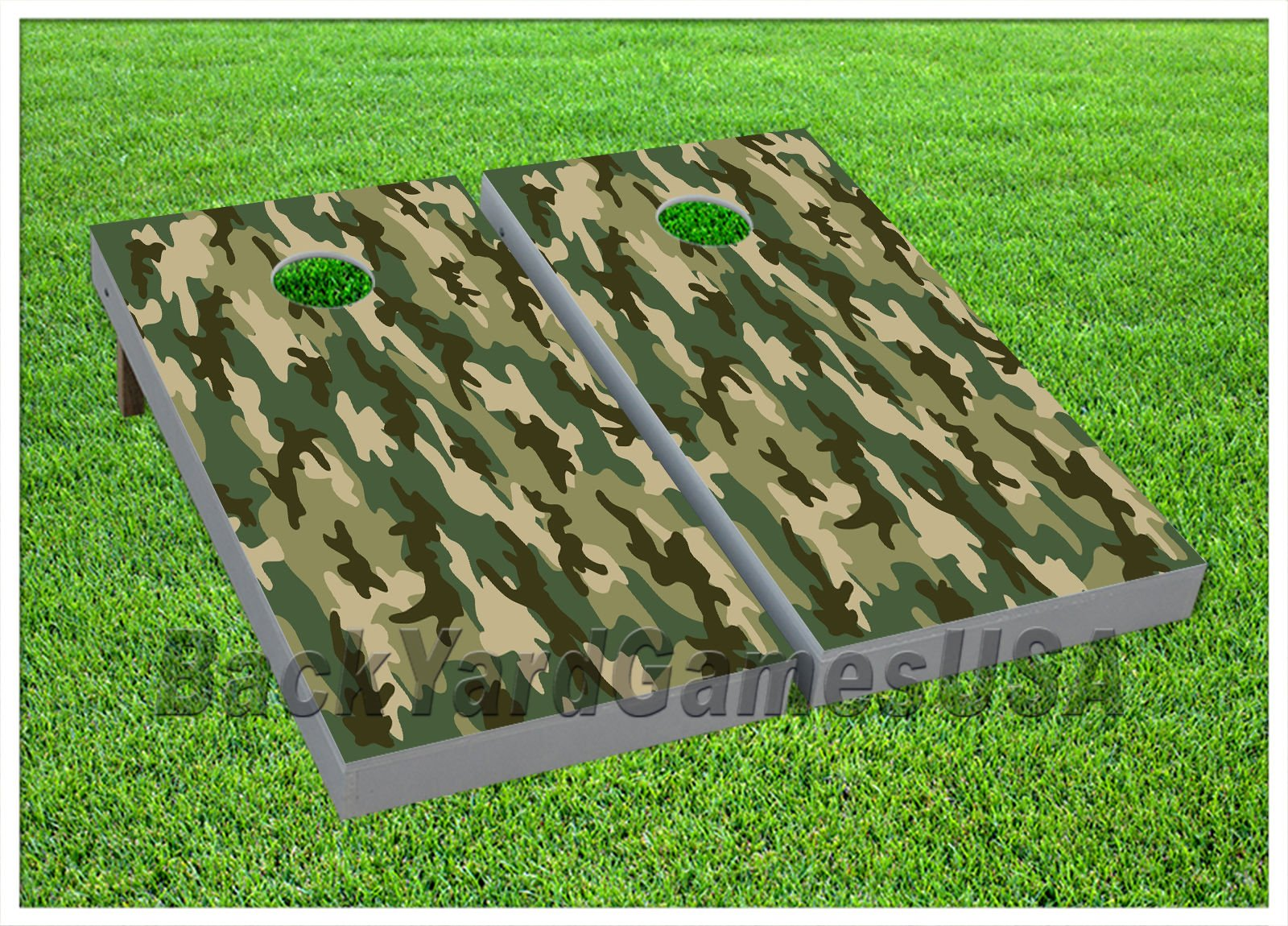 CORNHOLE BEANBAG TOSS GAME w Bags Game Boards Camo Green Black Army Set 909