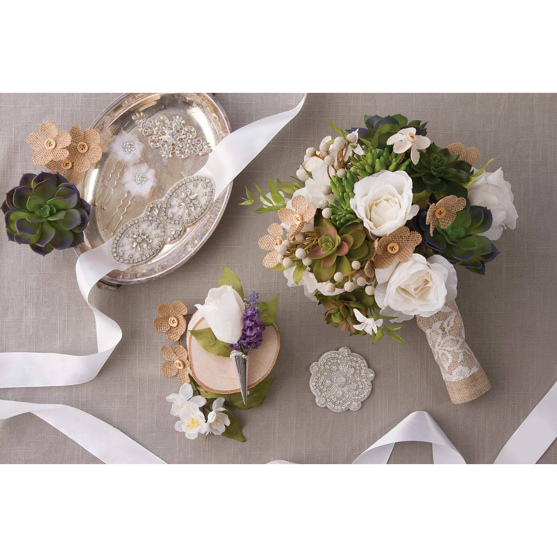 Darice Bulk Buy DIY David Tutera Burlap and Lace Bouquet Wrap (3-Pack) DT732BW