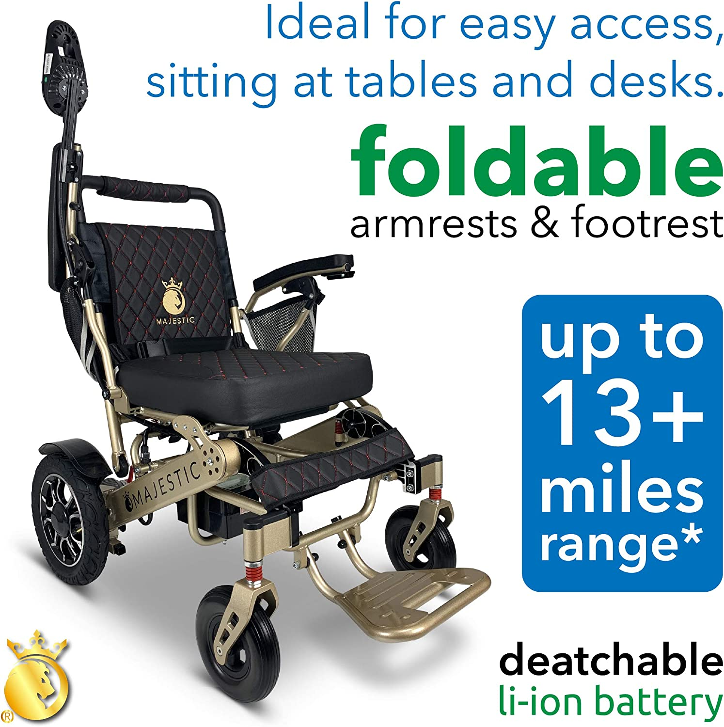 """2021 New Folding Ultra Lightweight Electric Power Wheelchair, Silla de Ruedas Electrica, Airline Approved and Air Travel Allowed, Heavy Duty, Mobility Motorized, Portable Power (19.5"""" Seat Width): Health & Personal Care"""