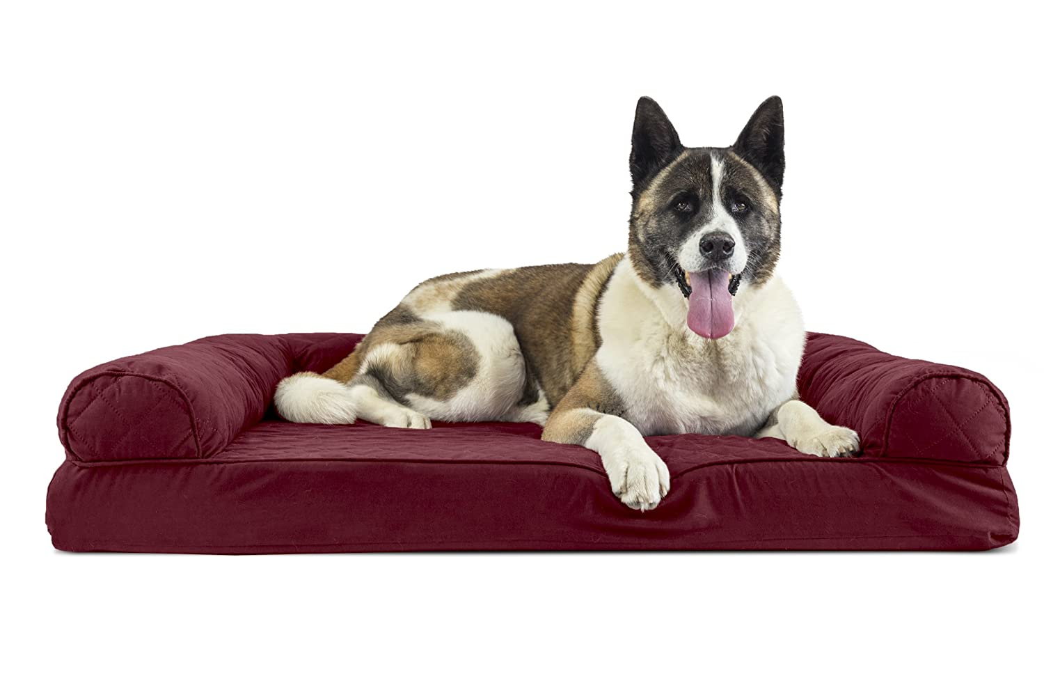 FurHaven Pet Dog Bed   Memory Foam Quilted Couch Sofa-Style Pet Bed for Dogs & Cats, Wine Red, Jumbo