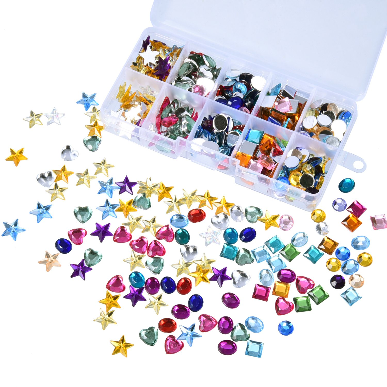 Outus 500 Pieces Gems Flatback Rhinestones Acrylic Craft Jewels Gemstone Embellishments, Heart Star Square Oval, Round, with Plastic Storage Box, Assorted Color