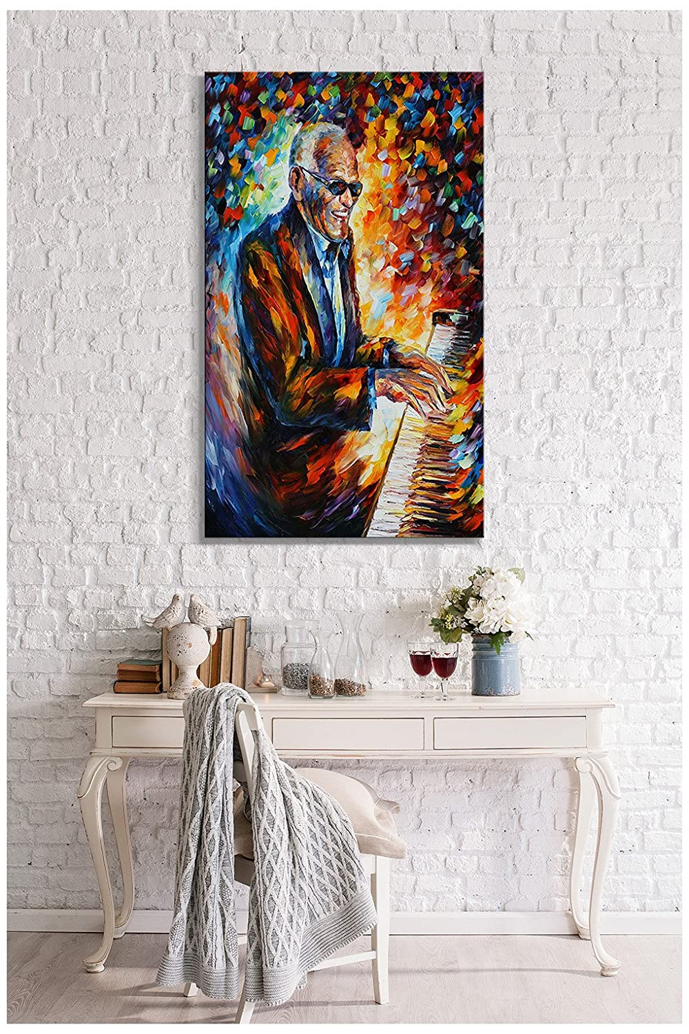 Picture Perfect International Giclee Stretched Wall Art by Leonid Afremov Ray Charles Artists-Canvas 18 x 30 x 1