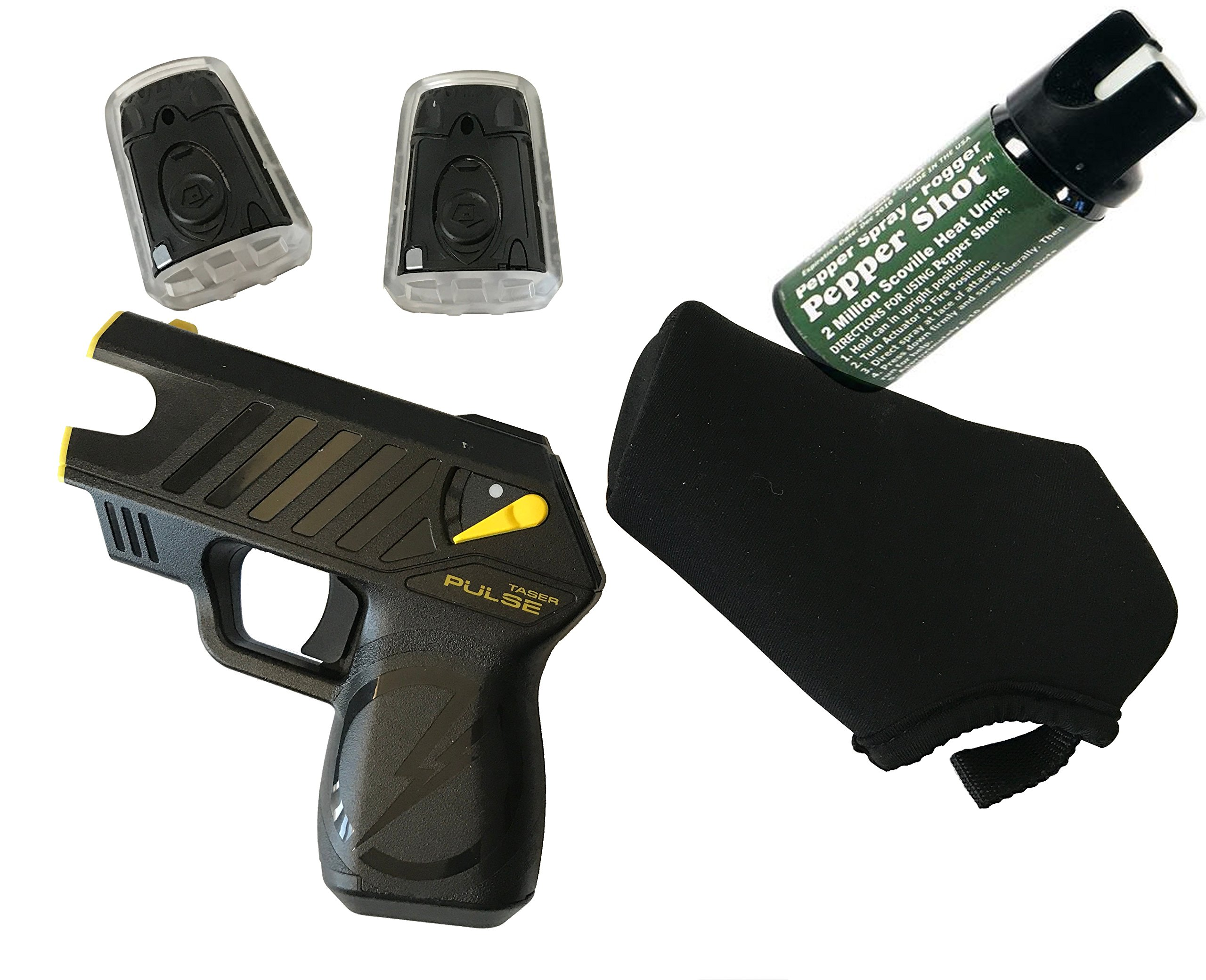Taser Pulse with Laser, LED, 2 Live Cartridges, 1 Soft holster, Lithium Power Magazine(Battery Pack), and Target, (L5.25'' H 4.75'' W1.25'') & 1 Pepper Shot 2 oz Pepper Spray Fogger by giftsandmore