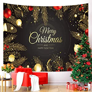 Tarnel Christmas Tapestry Wall Hanging Xmas Wall Tapestry for Party Livingroom Bedroom Dorm Home Decor Christmas Tree W78.7 x L59.1