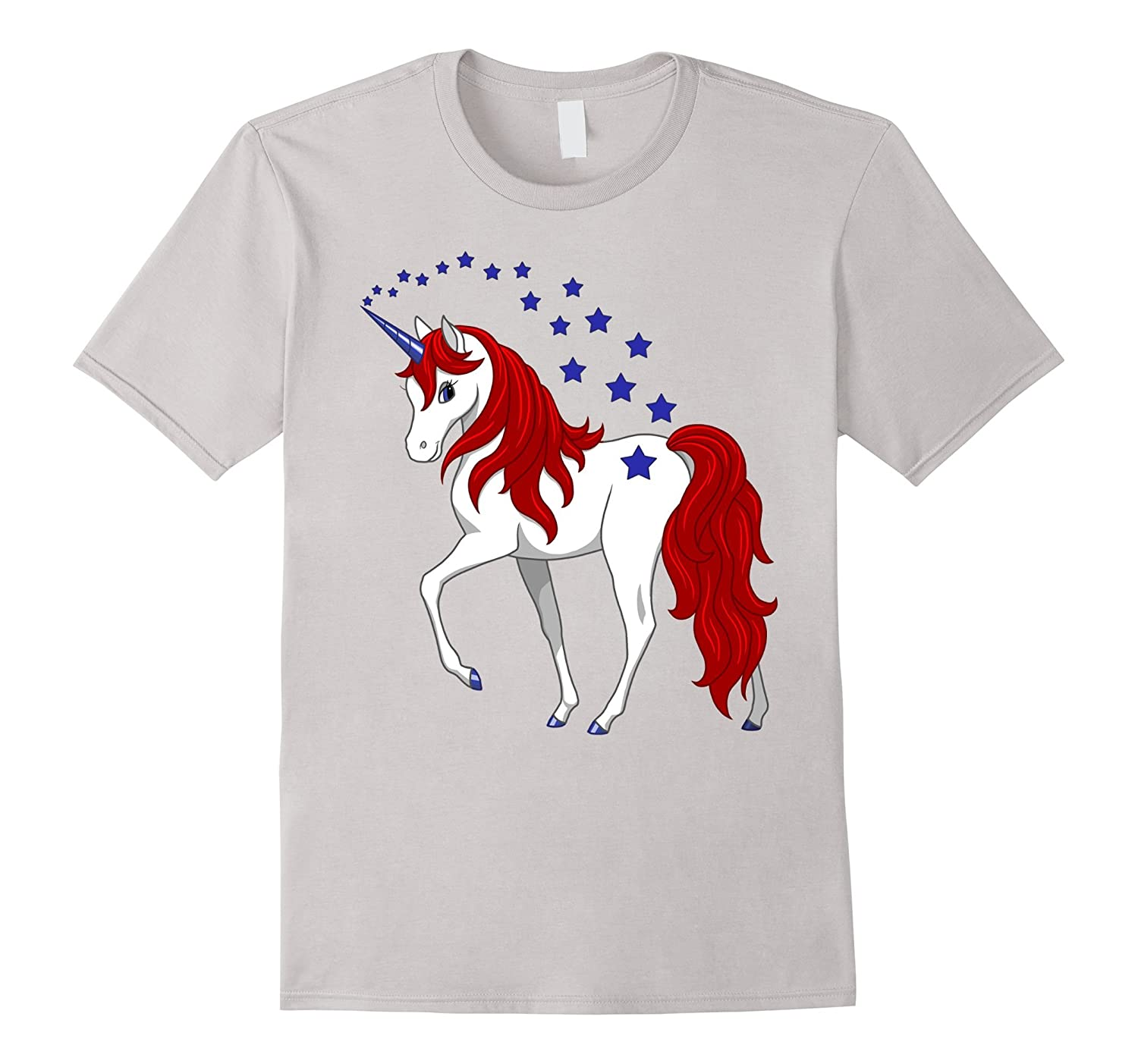 Patriotic American Red White Blue Unicorn T-shirt-ah my shirt one gift