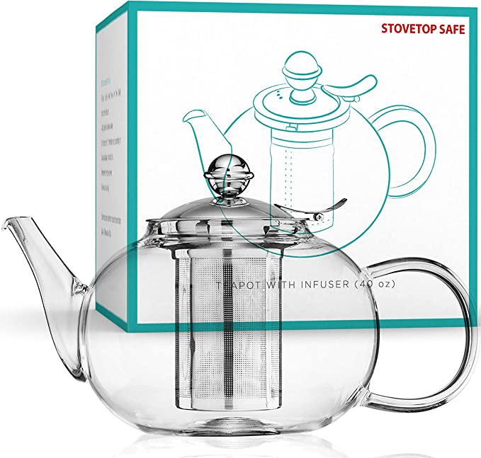 Amazon Com Glass Teapot Stovetop Safe Stainless Steel Infuser Blooming And Loose Leaf Tea Pot Large Capacity 1200ml 40oz By Nest Above Teapots