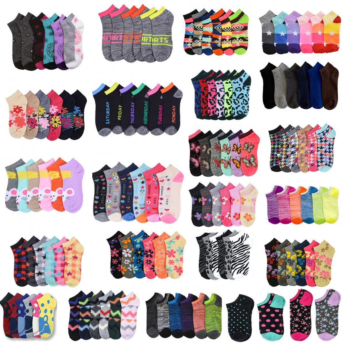 Size 6-8 Wholesale Lot Women's Girl Mixed Assorted Designs Colors Ankle Low Cut Socks - Choose Quantity (24) by zr_dnm