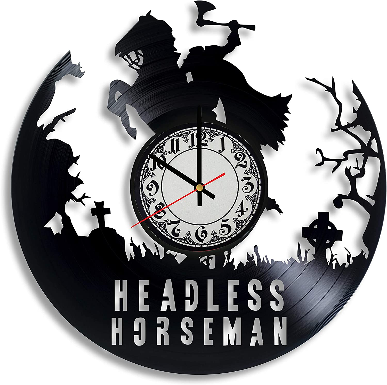 Lepri4ok Headless Horseman Vinyl Record Wall Clock, Headless Horseman Gift for Any Occasion, Horseman Figure, Tim Burton Art, Sleepy Hollow Decor