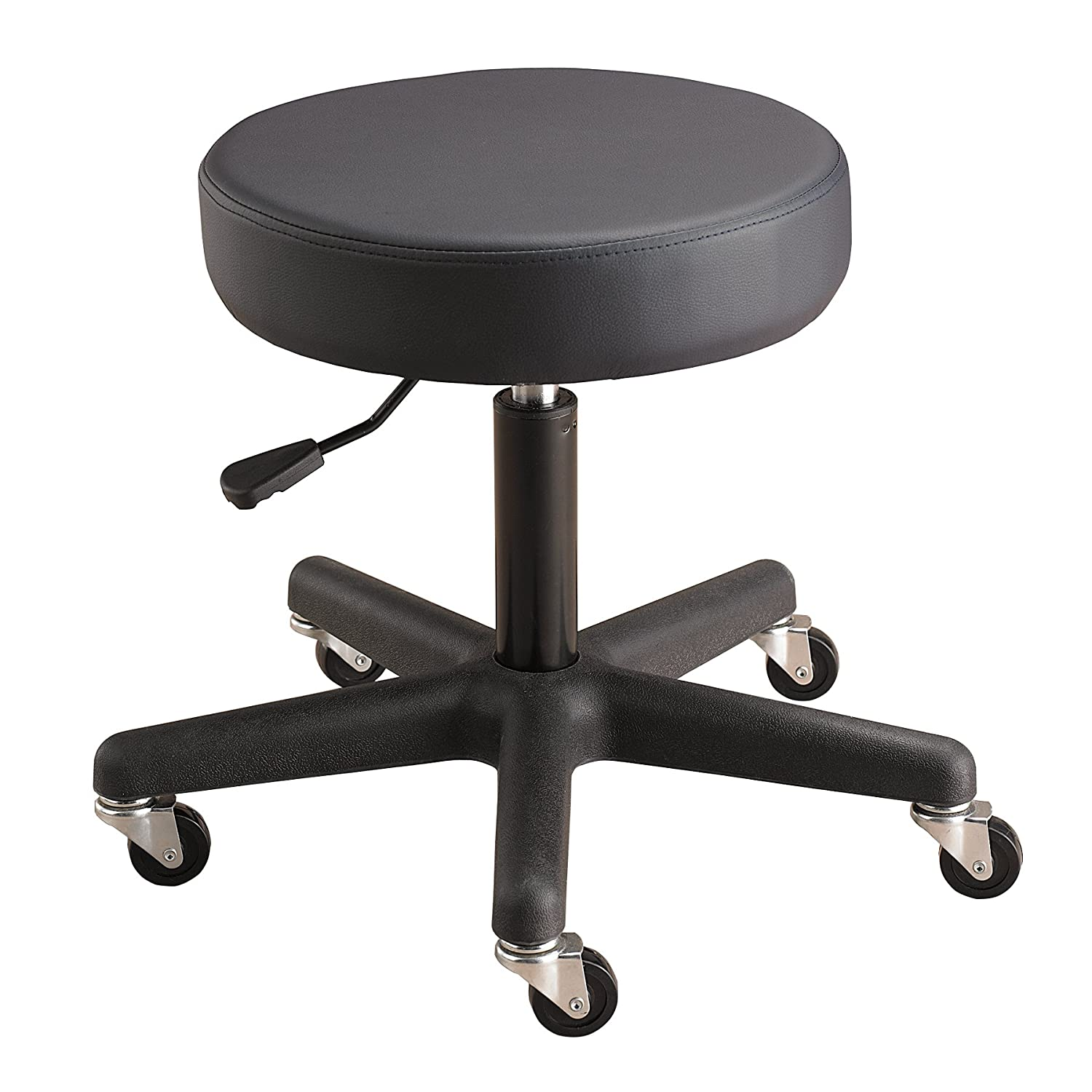Sammons Preston - 58674 Pneumatic Therapy Stool Without Back, Black, Cushion Seat for Office, Clinical, or at Home Use, Comfortable Seat for Back, Spine, and Lumbar Support, Adjustable Rolling Massage Stool