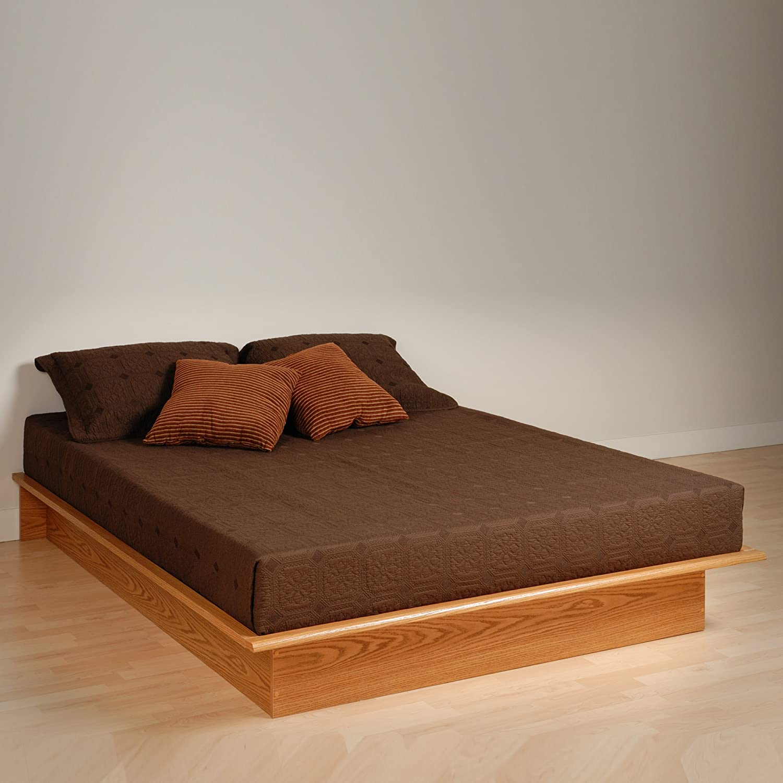 Prepac OBQ-6080-K Queen Platform Bed, Oak Prepac Manufacturing
