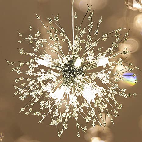 Garwarm Modern Firework Chandeliers,Crystal Chandelier Pendant  Lighting,Ceiling Lights Fixtures for Living Room Bedroom  Restaurant,8-Light,Gold