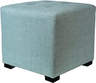 product image for MJL Furniture Designs Merton Designer Square 4 Button Tufted Upholstered Ottoman, Sea Mist Green