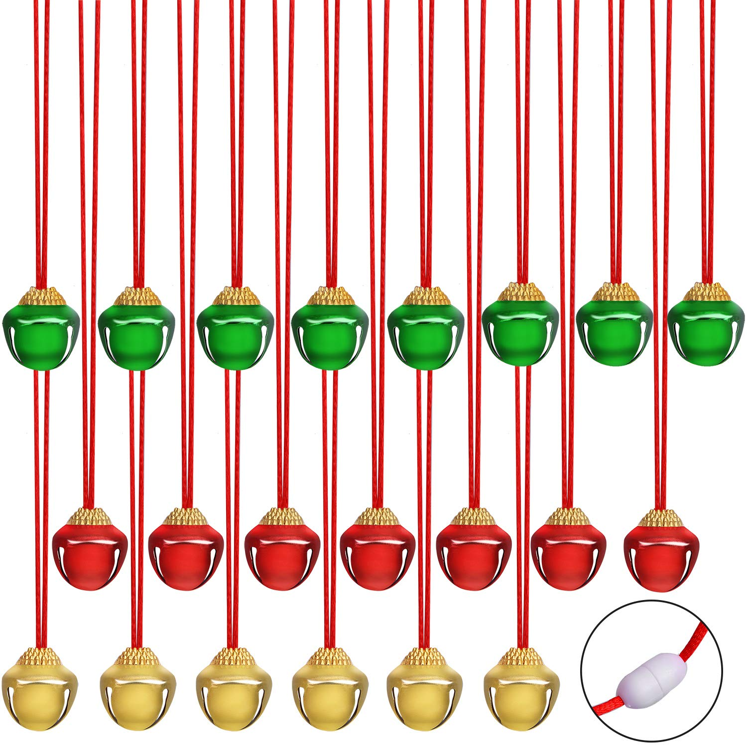 URATOT 24 Pieces Christmas Jingle Bell Necklaces Christmas Decoration Bell Necklaces with Connect Ribbons for Christmas Supplies (Red, Golden, Green) by URATOT