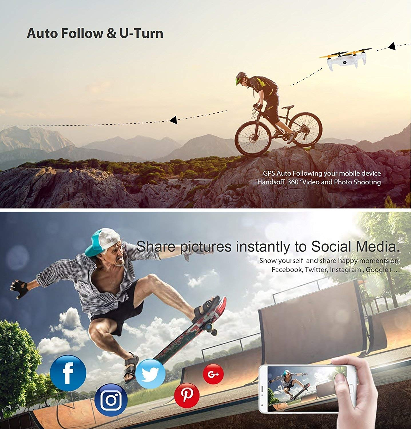 Smart Nano Drone with 15MP Camera 1080P FHD Live Video WiFi Quadcopter GPS, One Touch Take-Off and Landing for Beginners On iPhone, iPad & Samsung Galaxy & More Smart Devices (White)