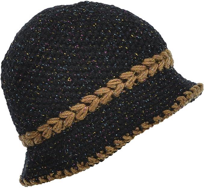 117b9ab1dfa Hand By Hand Aprileo Women s Knitted Cloche Hat Fleece Lined Belt Shining  Line  Black.