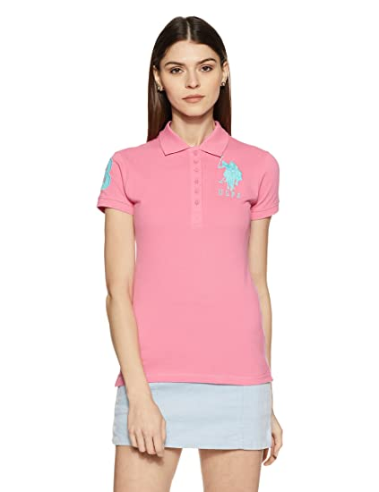 837a9bc8 US Polo Women's Band Collar T-Shirt: Amazon.in: Clothing & Accessories