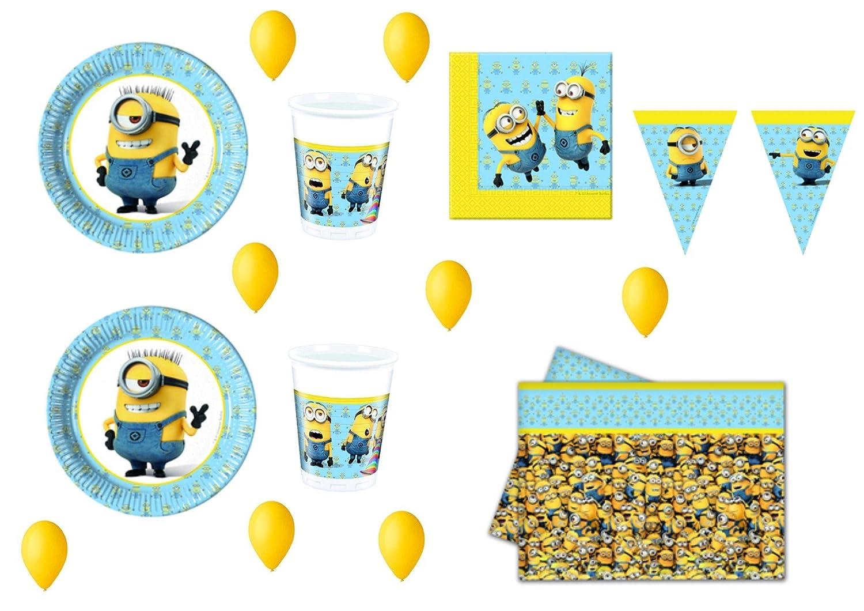 Cdc -kit n°16 festa e party Cattivissimo Me Minions - (40 piatti, 40 bicchieri, 40 tovaglioli, 1 tovaglia,100 palloncini )