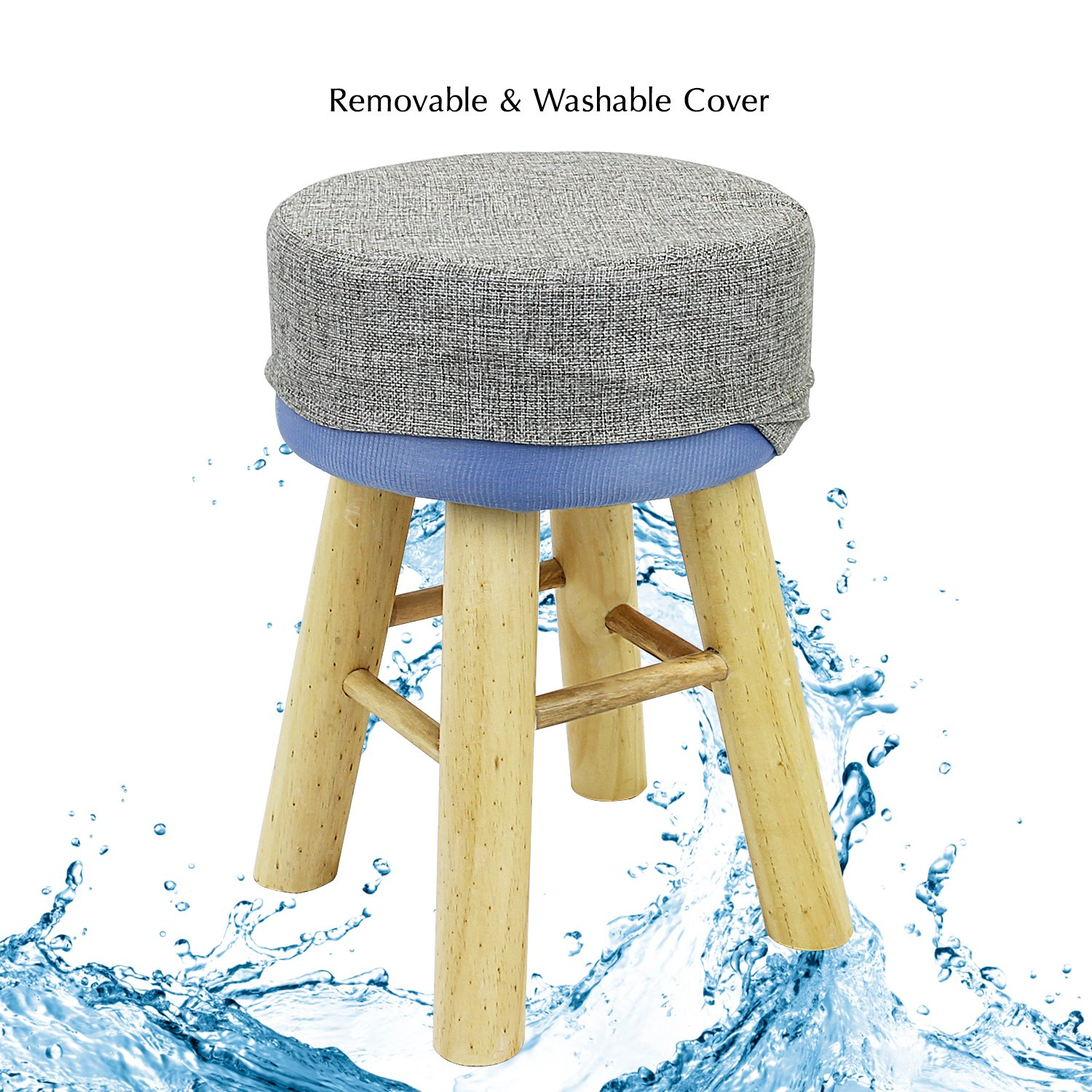 DL furniture – Round Ottoman Foot Stool, 4 Leg Stands Round Shape, Long Leg Linen Fabric, Gray Cover