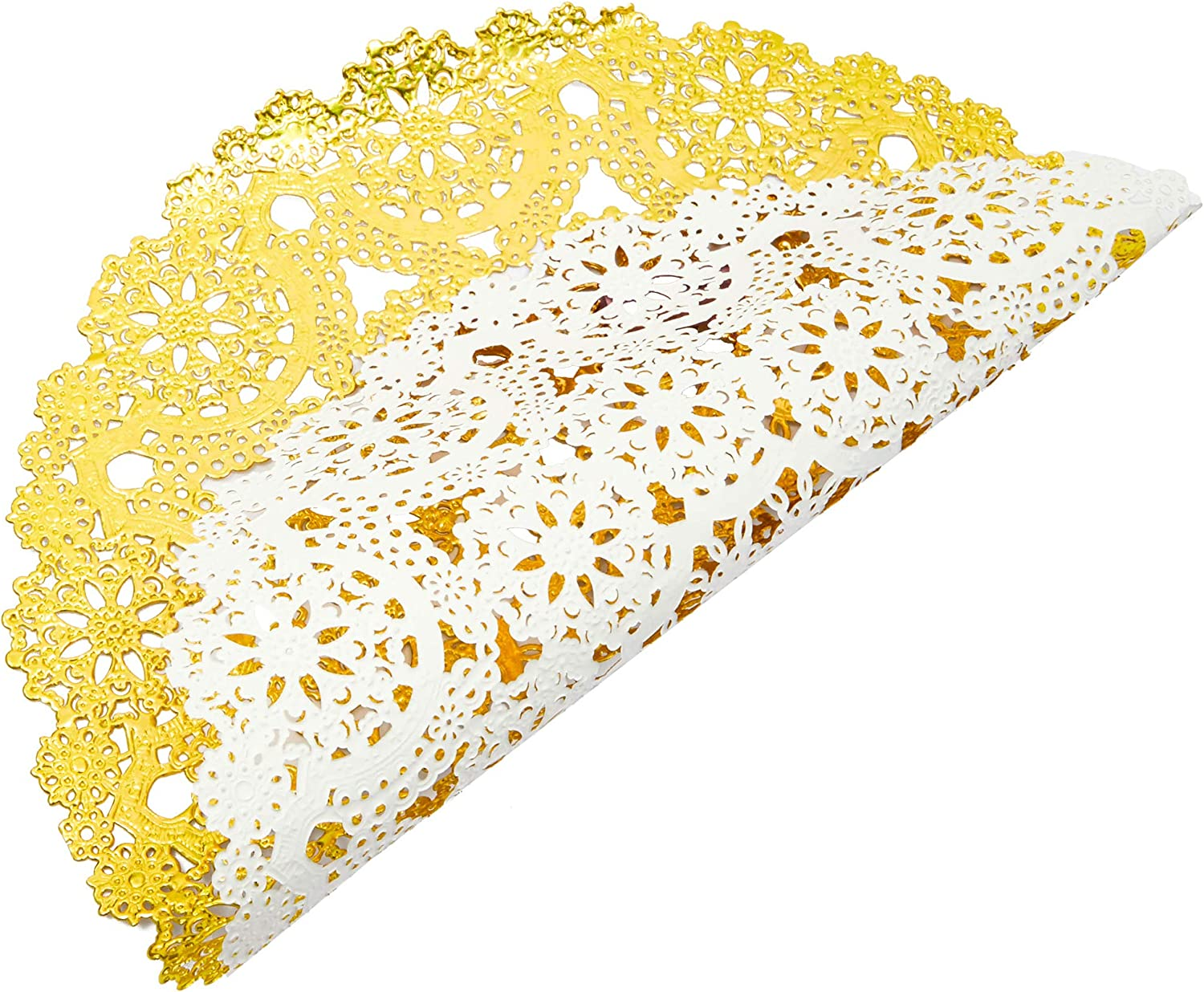 10 in, Gold, 60 pcs Juvale Round Medallion Paper Doilies