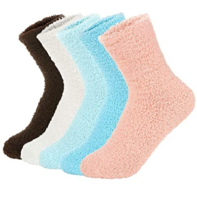 Zando Womens Winter Warm Fuzzy Fluffy Socks Casual Super Soft Crew Sock Microfiber Thick Home Sock Cozy Plush Slipper Sock 5 Pairs Vintage Solid One Size at Women's Clothing store