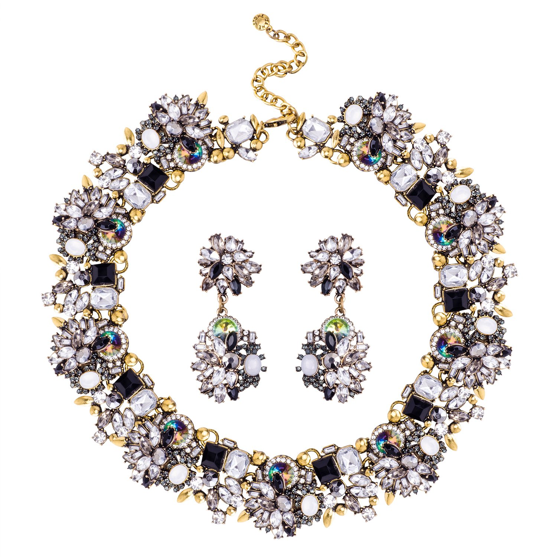 Jane Stone Fashion Gold Collar Necklaces Bling Rhinestone Jewelry Set for Women Girls(Fn1389-Black)