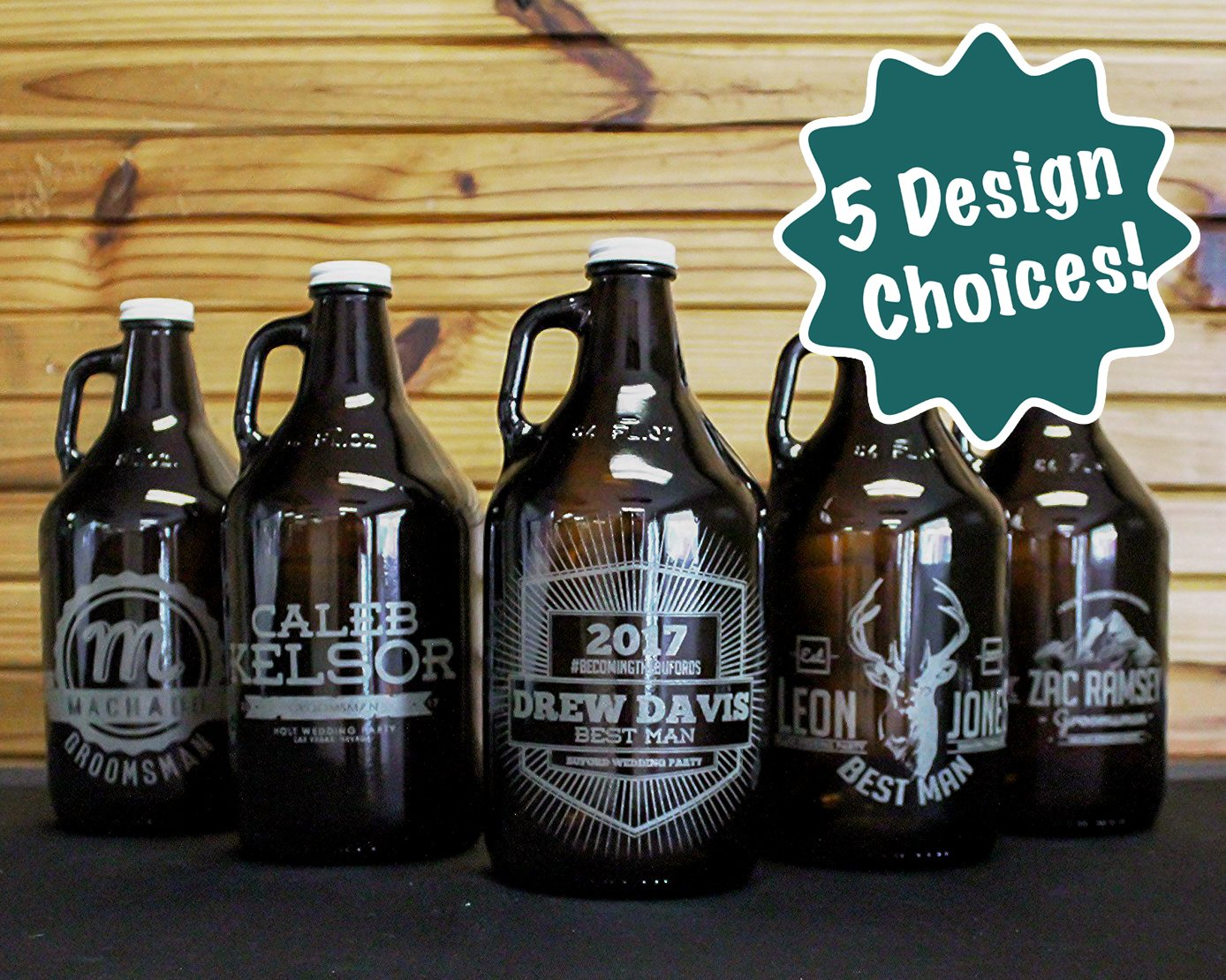 Personalized Etched Groomsmen Beer Growler 64oz