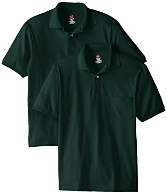 Hanes Mens Short Sleeve Jersey Pocket Polo, Deep Forest, X-Large ...