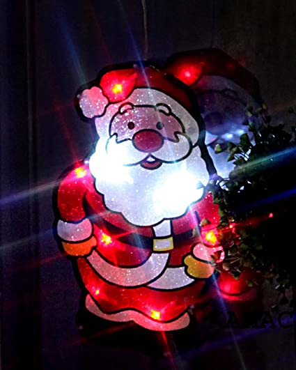 Figura decorativa con LED (28 x 18 cm, incluye ventosa e interruptor), diseño de Papá Noel: Amazon.es: Hogar