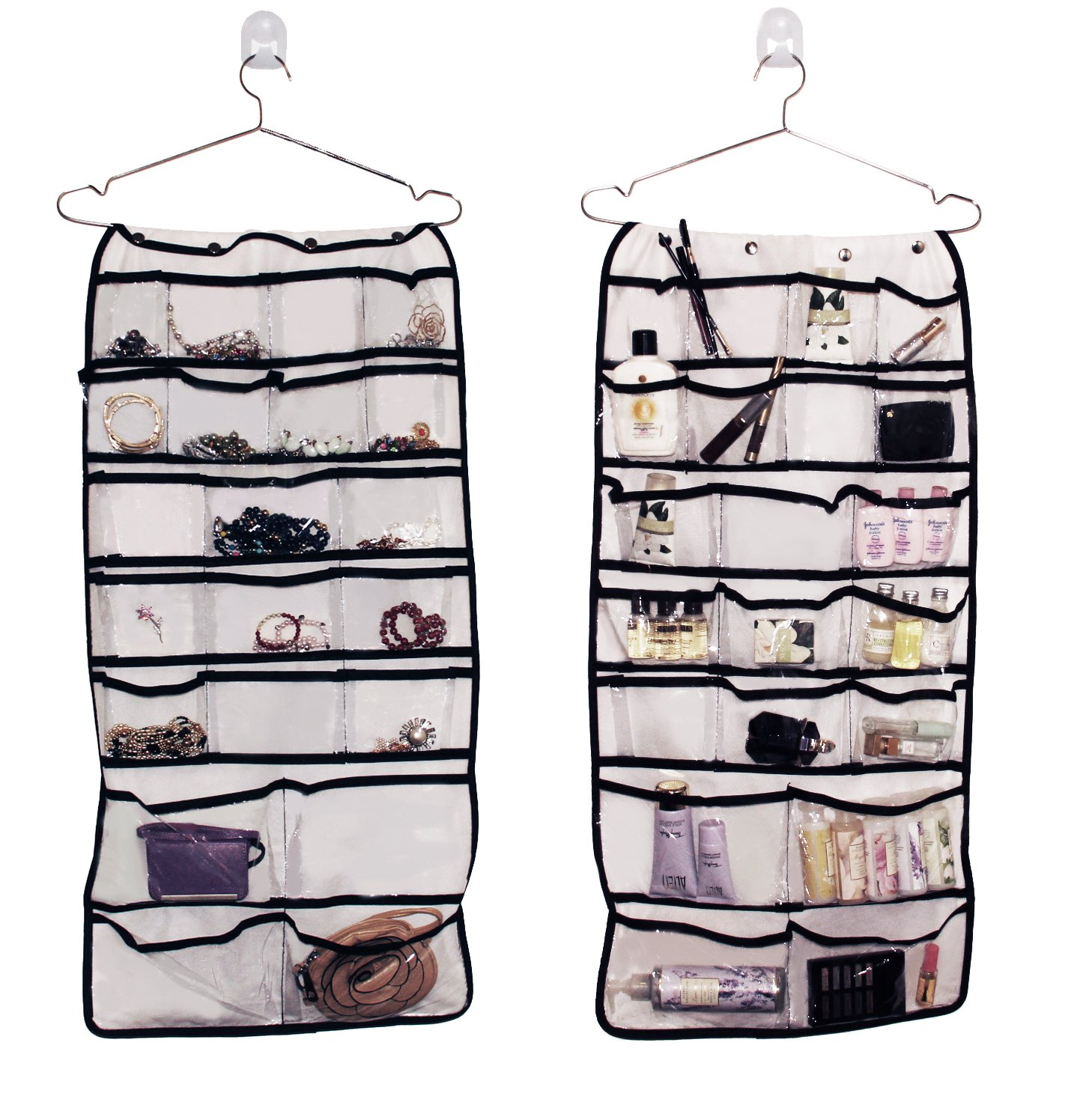 Hanging jewelry organizer with double sided pockets 35 Inches long 17 inches wide