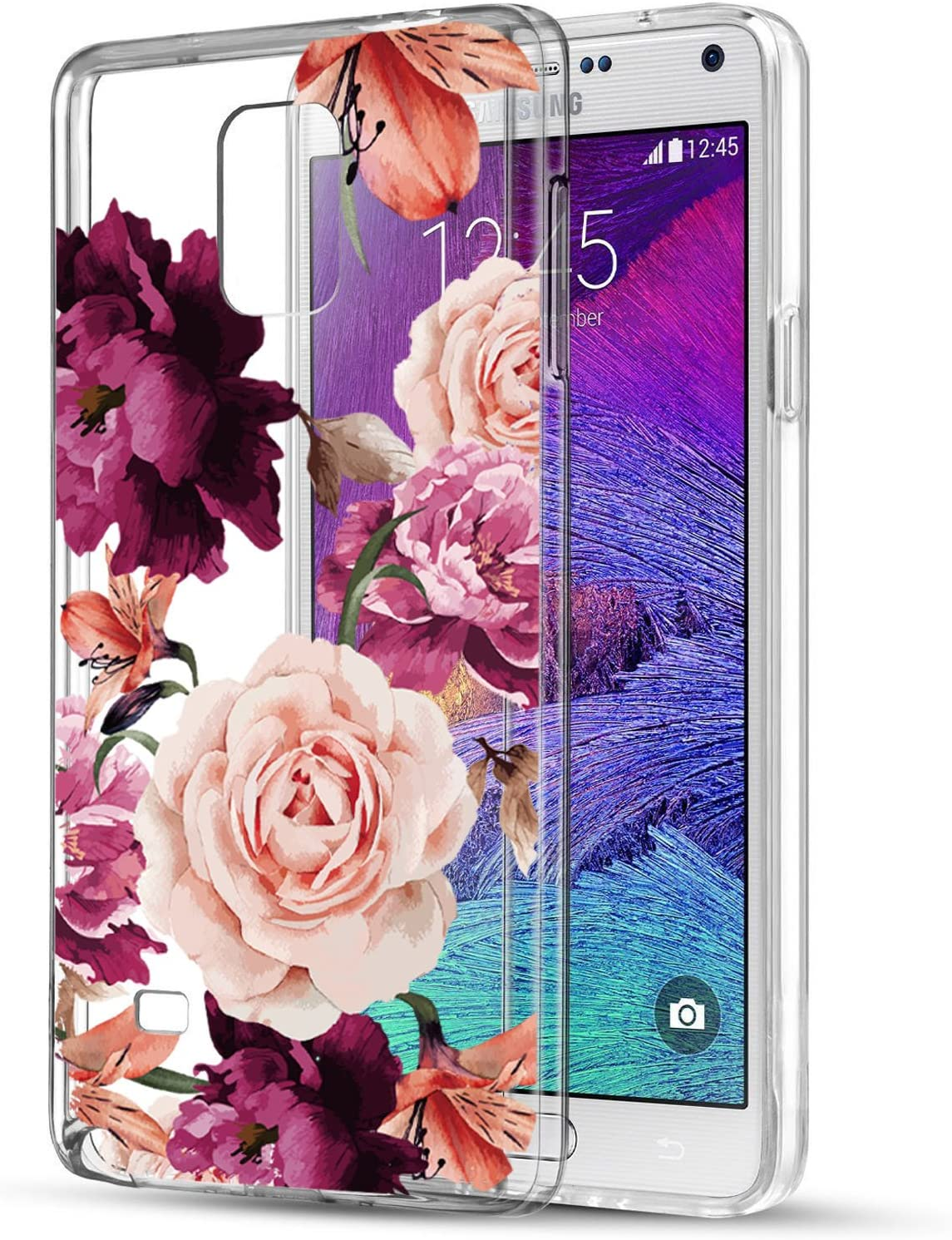 BAISRKE Note 4 Case, Galaxy Note 4 Case with Flowers Slim Shockproof Clear Floral Pattern Soft Flexible TPU Back Cove for Samsung Galaxy Note 4 SM-N910S/SM-N910C [Purple Pink]