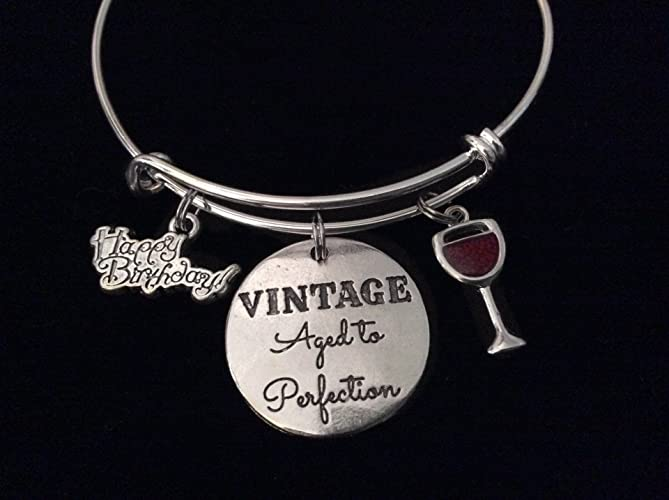 7834d06be79d7 Vintage Aged to Perfection Happy Birthday Wine Glass Expandable Charm  Bracelet Silver Adjustable Bangle Gift