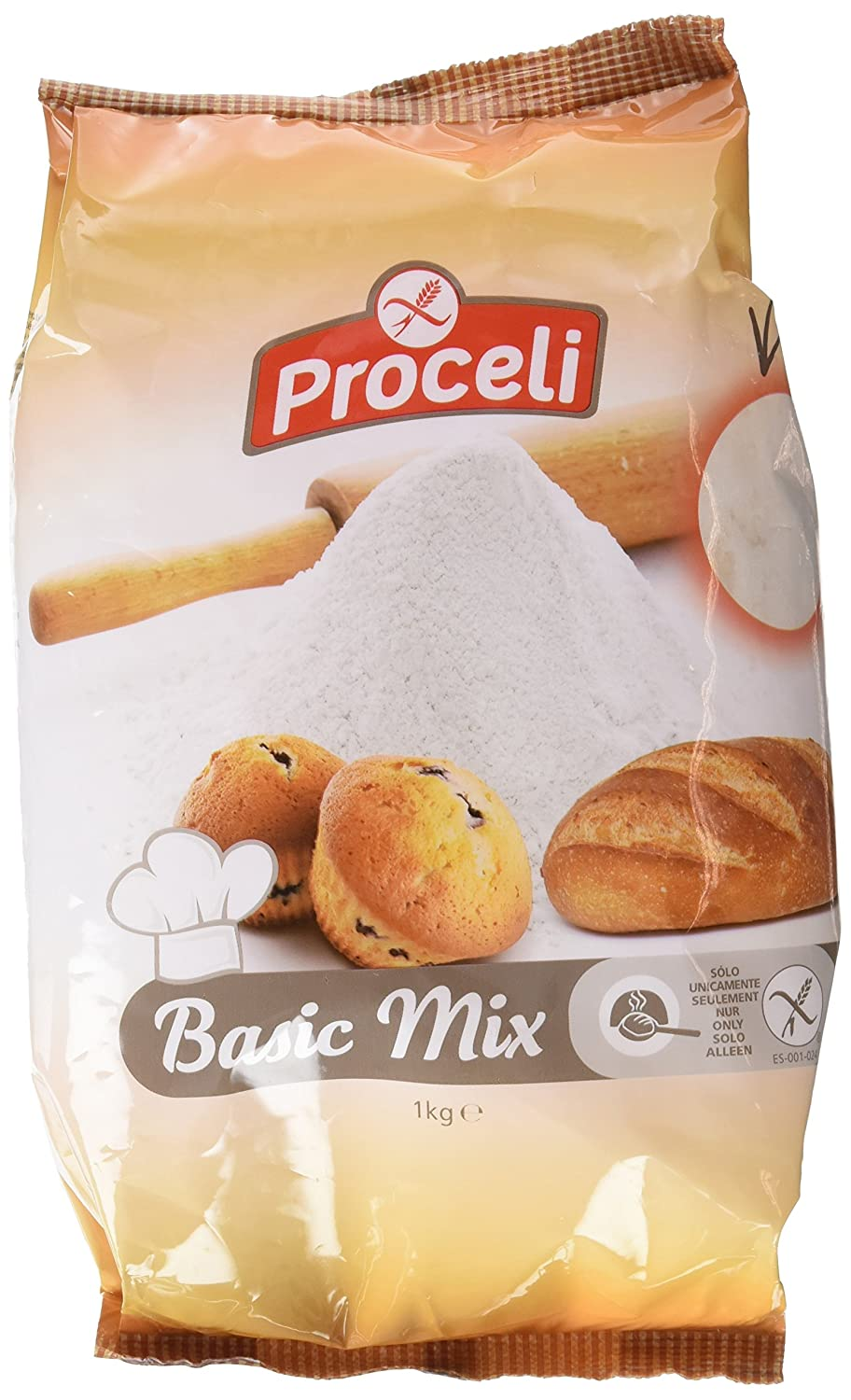 Proceli Basic Mix Harina Panificable Sin Gluten - 1000 gr - [Pack ...