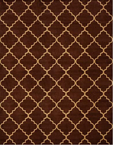 Conur Collection Trellis Contemporary Modern Design Area Rug Rugs More Color Options Available Brown, 7 9 x9 10