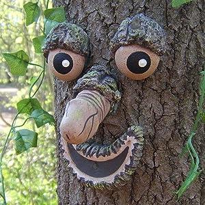 Tree Face Decor Outdoor Garden Fairy House Gnomes Decor Bark Ghostface Facial Features Decoration Old Man Tree Hugger Whimsical Sculpture Garden Outdoor Creative Props