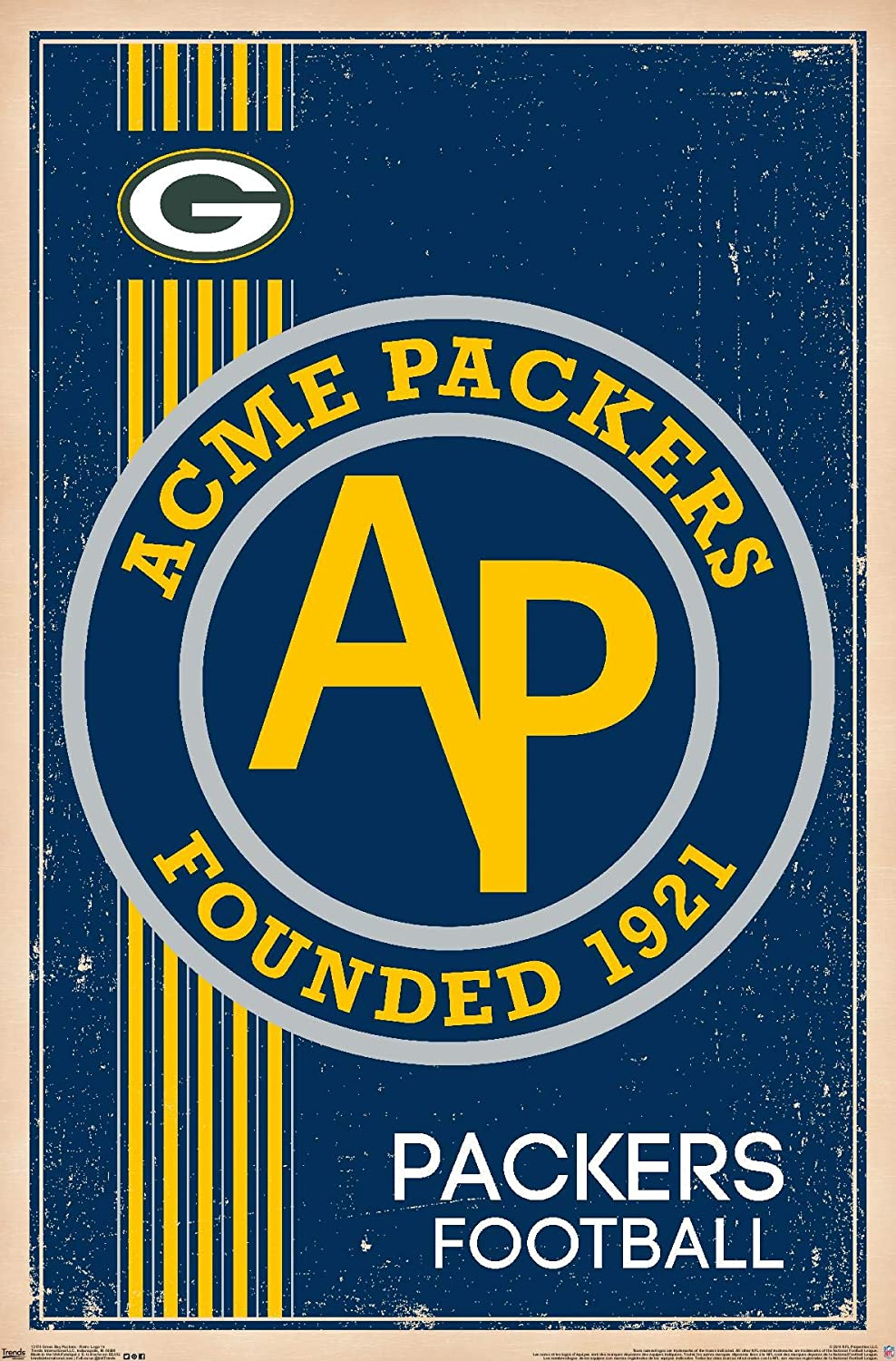 Trends International NFL Green Bay Packers - Retro Logo 14 Wall Poster, 22.375