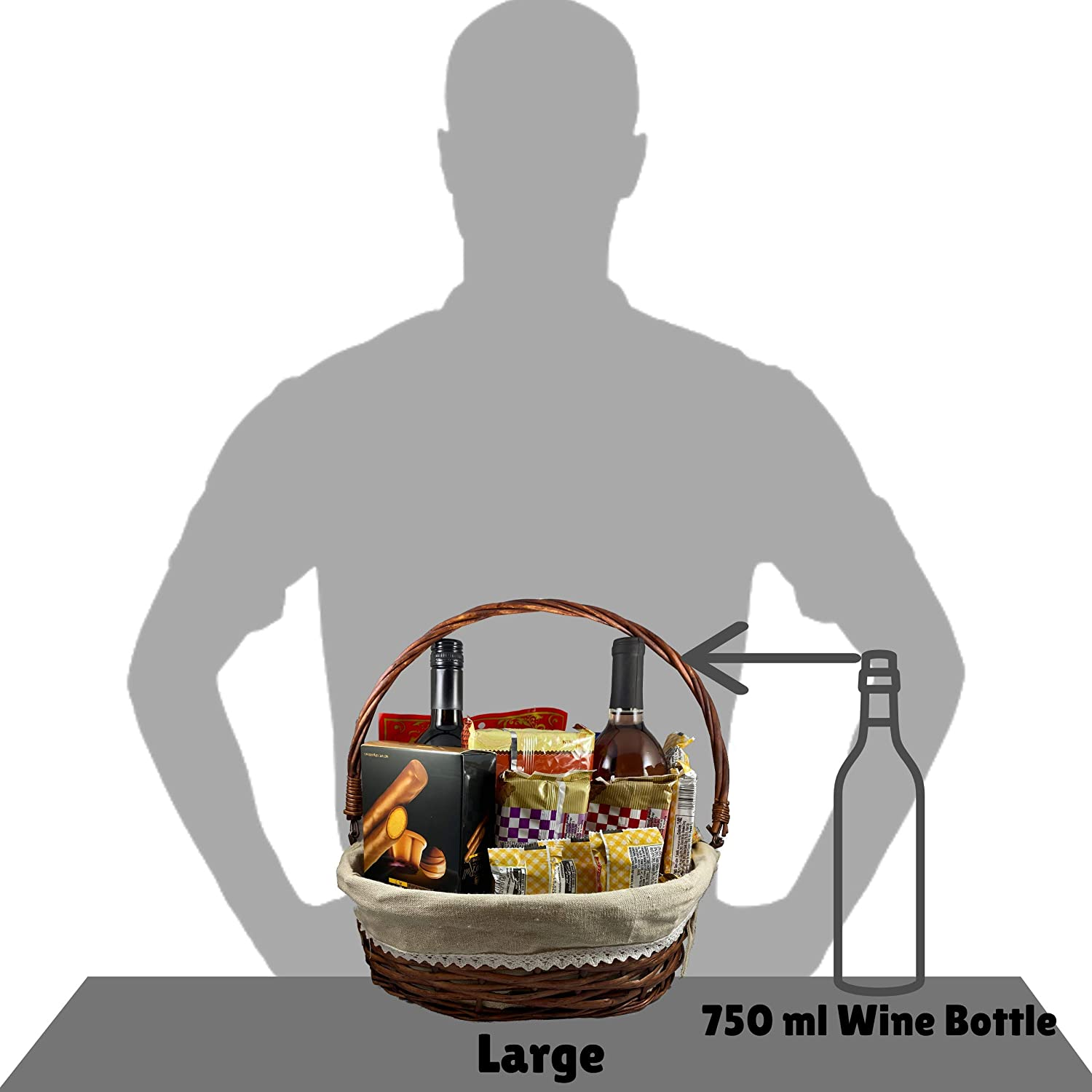 Brown 3PK Food Empty Basket for Wine Christmas Easter Complete DIY Gift Set include Heat Shrink Cellophane Bags and Ribbons Storage Trebisky Wicker Basket with Cello Wrap Picnic Birthday