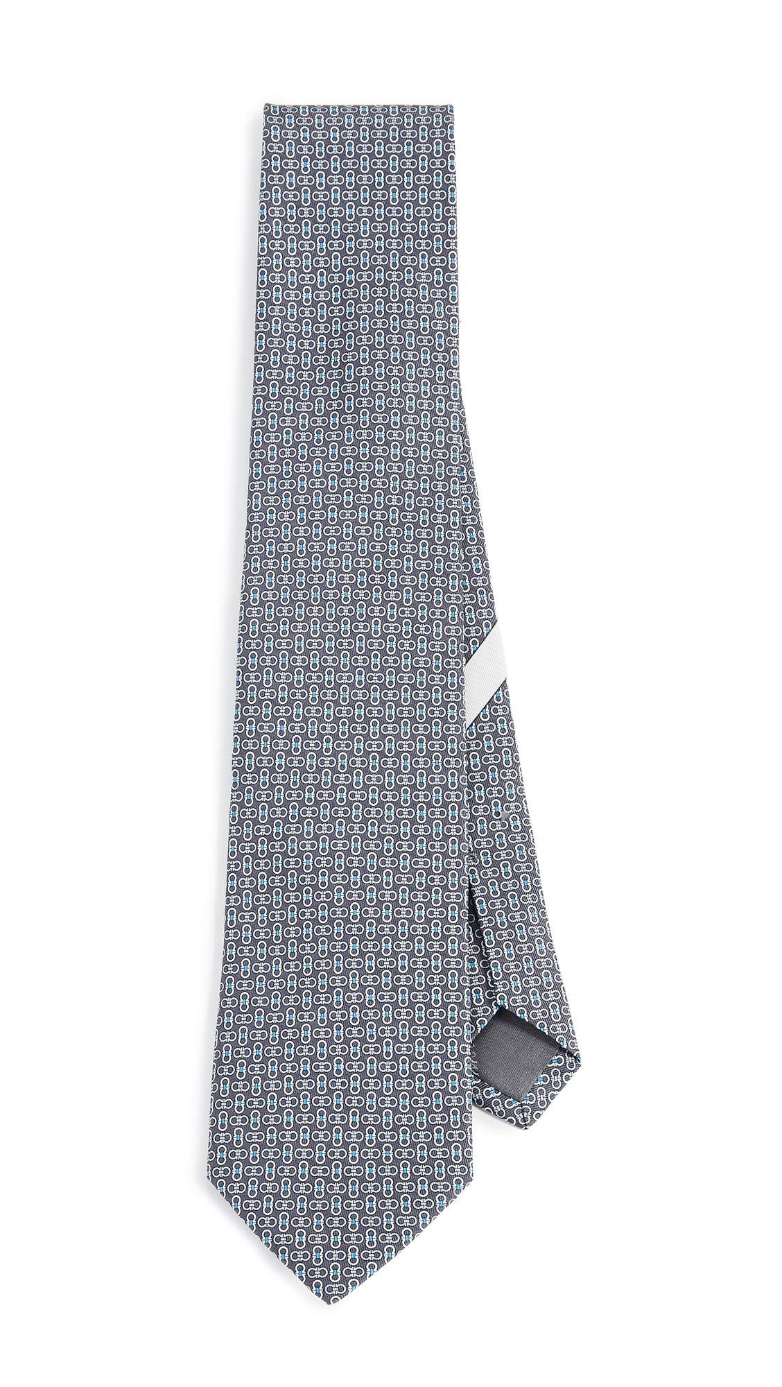 Salvatore Ferragamo Men's Multi Gancio Print Tie, Grey, One Size