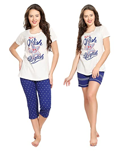 8e6d51eb8 AV2 Women's Cotton Top Capri and Shorts Set: Amazon.in: Clothing &  Accessories