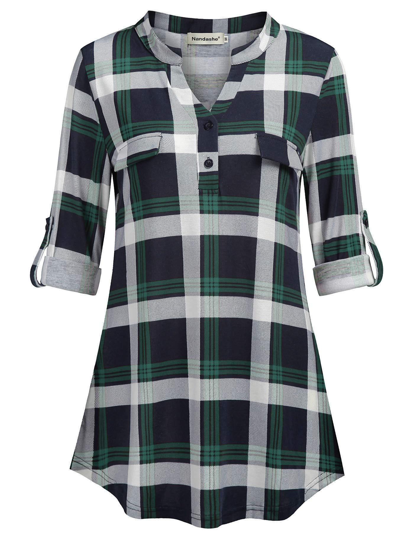 ed9f817630e6df Nandashe Womens 3/4 Roll Sleeve Shirt V Neck Button Down Blouse Loose Tunic  Tops